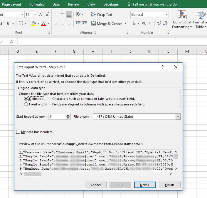 How do I open the csv Export File from the Forms (Precise, Awesome, and v2) feature?